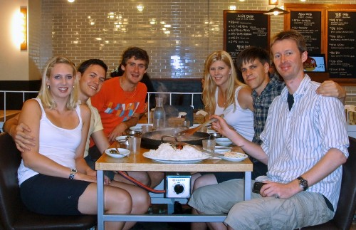 Erik Winther with friends in Busan Korea