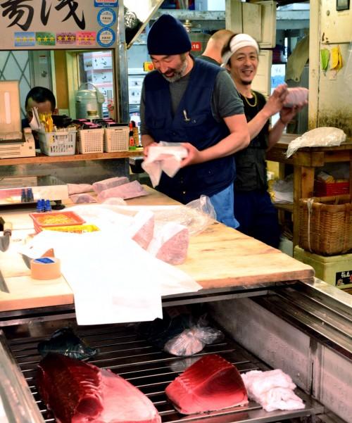 Happy fishermen at Tsukiji Market