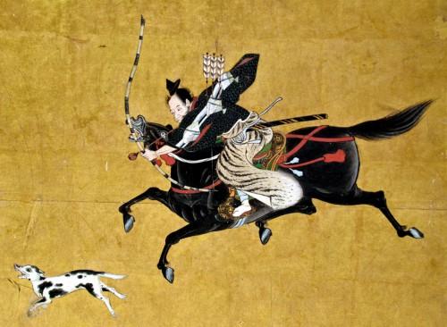 Painting showing Japanese dog hunt